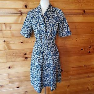 Vintage Unlabeled Tan & Navy Floral Shirt Dress